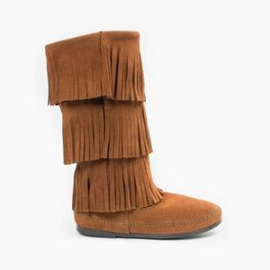 MINNETONKA 3 LAYER FRINGE BROWN SUEDE LEATHER BOOT